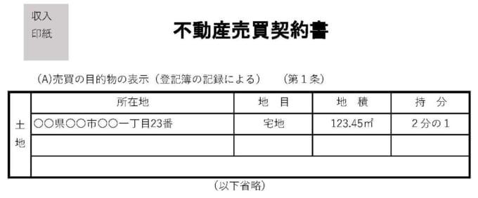 売買契約書の土地の表示(持分)
